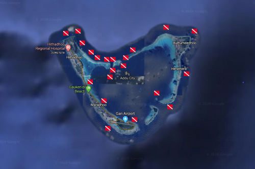 Map of South Maldives - Addu Atoll